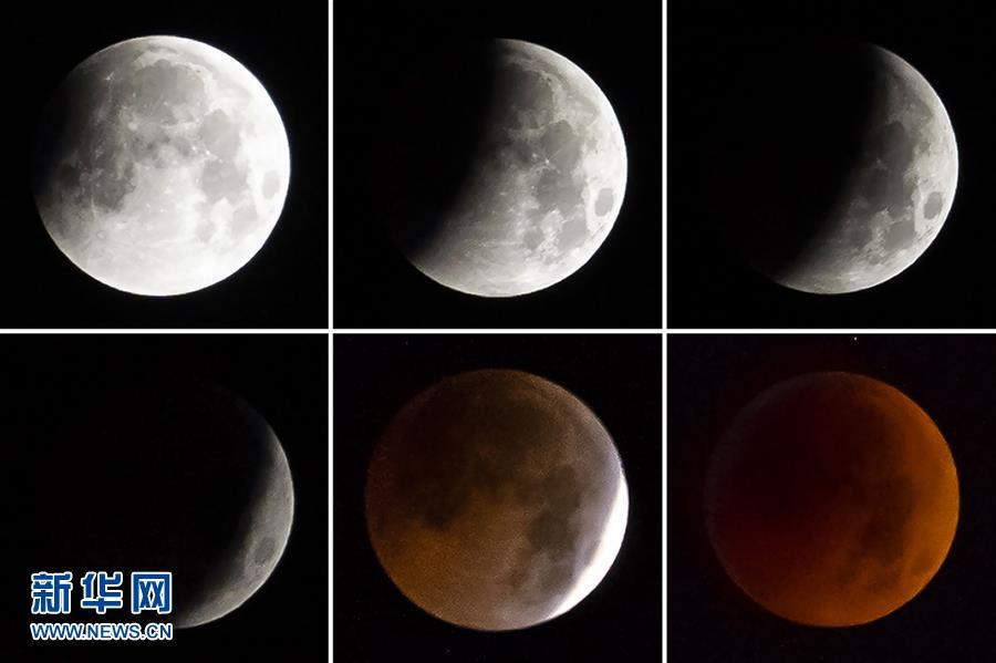 天幕上演月全食美景